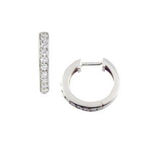 Round White gold diamond raindrop hoop earrings