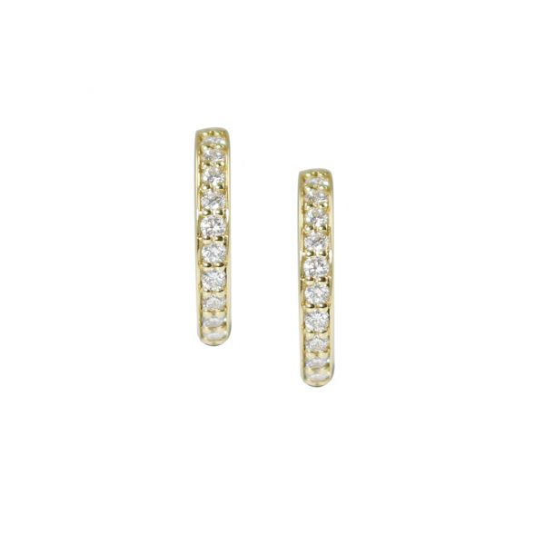 Yellow gold diamond raindrop hoop earrings