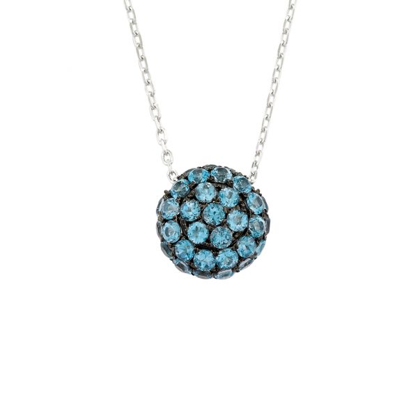 White gold blue topaz ball pendant necklace