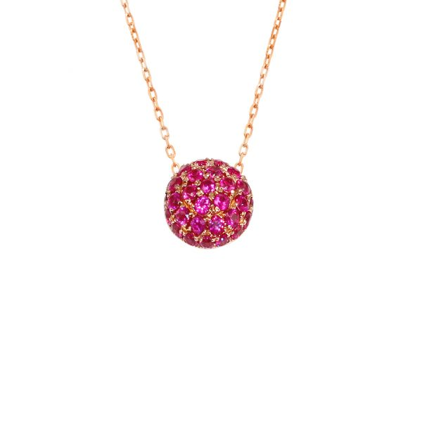 Rose gold ruby ball pendant necklace