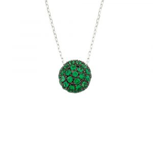 White gold tsavorite ball pendant necklace