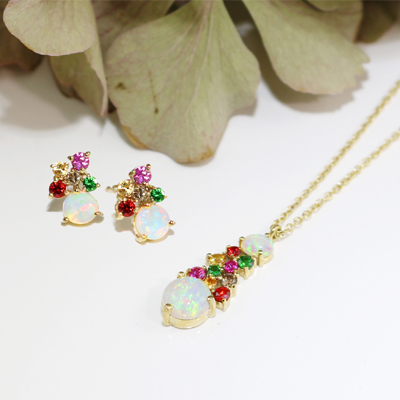 Yellow gold opal multi gem earrings and pendants
