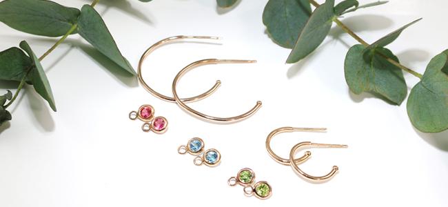 Rose gold multi gem hoop earrings