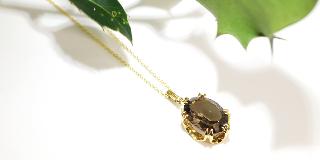 Yellow gold smoky quartz Cocktail pendant