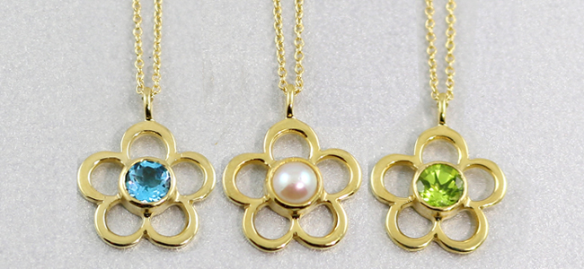 Yellow gold birthstone Blossom pendant necklaces