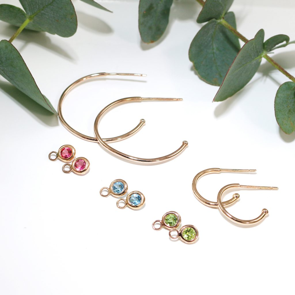 Rose gold dew drop hoop earrings