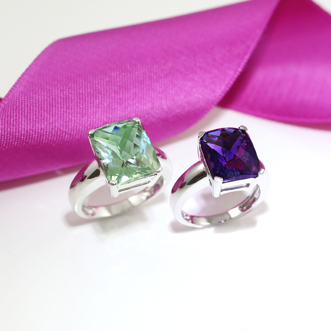 White gold green amethyst and amethyst cocktail rings