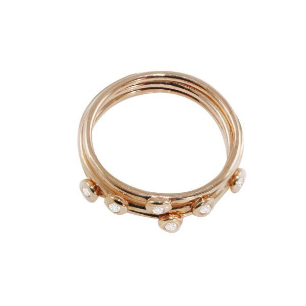 Rose gold diamond stack rings