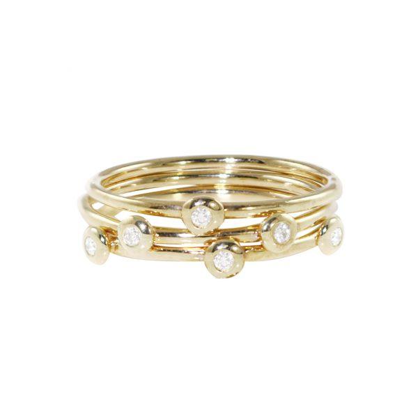 Yellow gold diamond stack rings