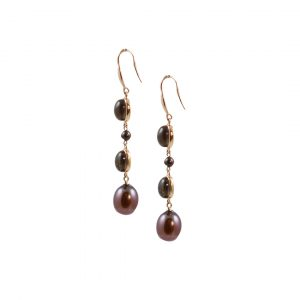 Rose gold smoky quartz bronze pearl drop earrings