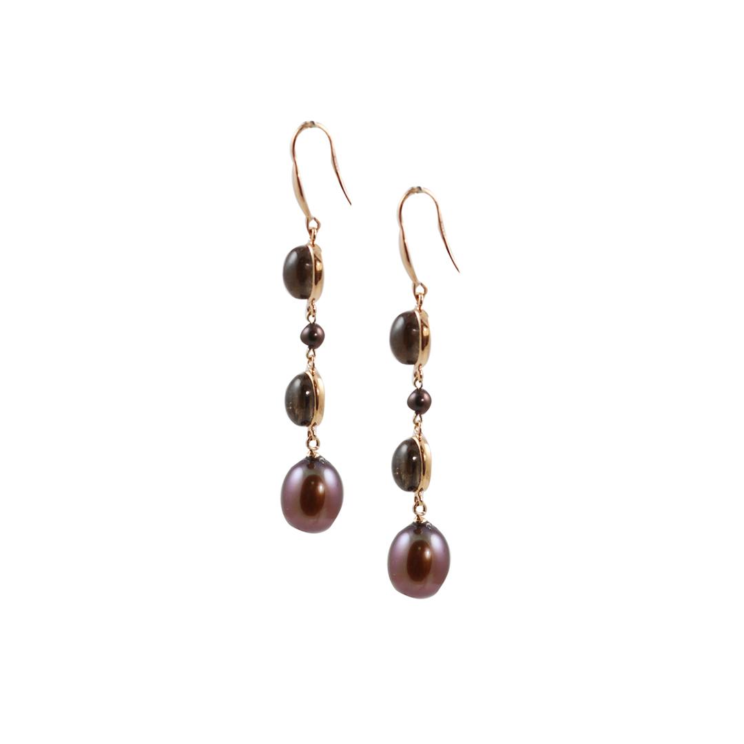 Rose gold smoky quartz bronze pearl drop earrings