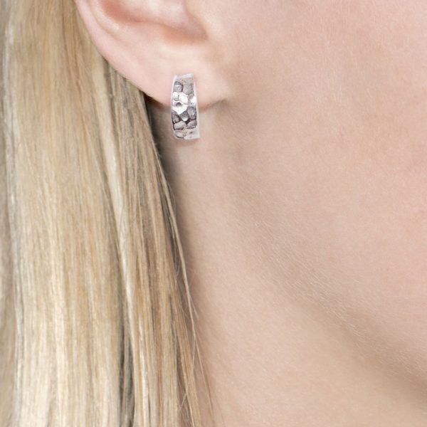 White gold hammered hoop earrings