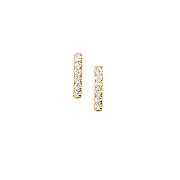 Yellow gold bar diamond earrings