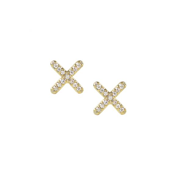 Yellow gold diamond kiss stud earrings
