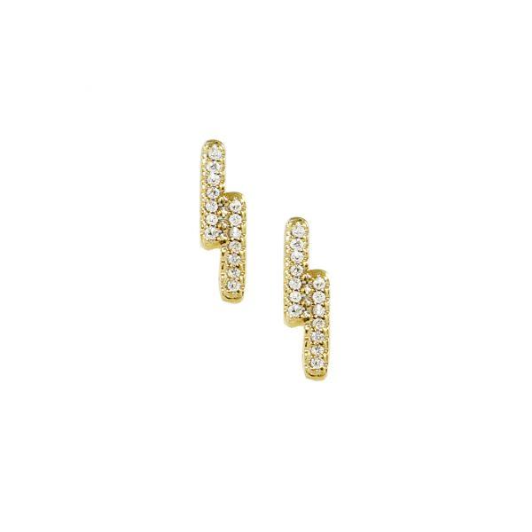 Yellow gold double bar diamond earrings