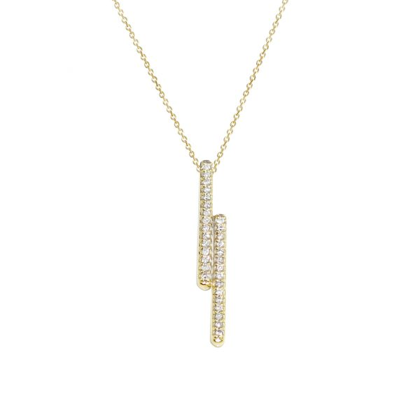 Yellow gold double bar diamond pendant necklace