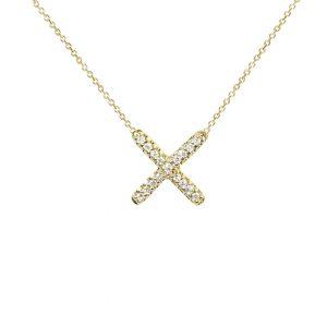 Yellow gold diamond kiss pendant necklace