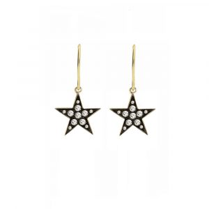 9 carat yellow gold rose cut diamond starry night star drop earrings