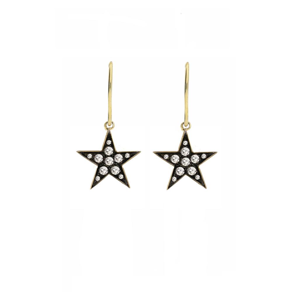 9 carat yellow gold rose cut diamond starry night star drop earrings