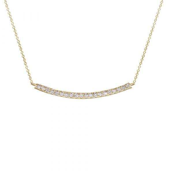Yellow gold diamond Geo bar necklace