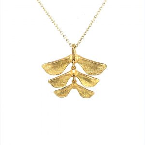 Yellow Gold sycamore leaves kew necklace pendant